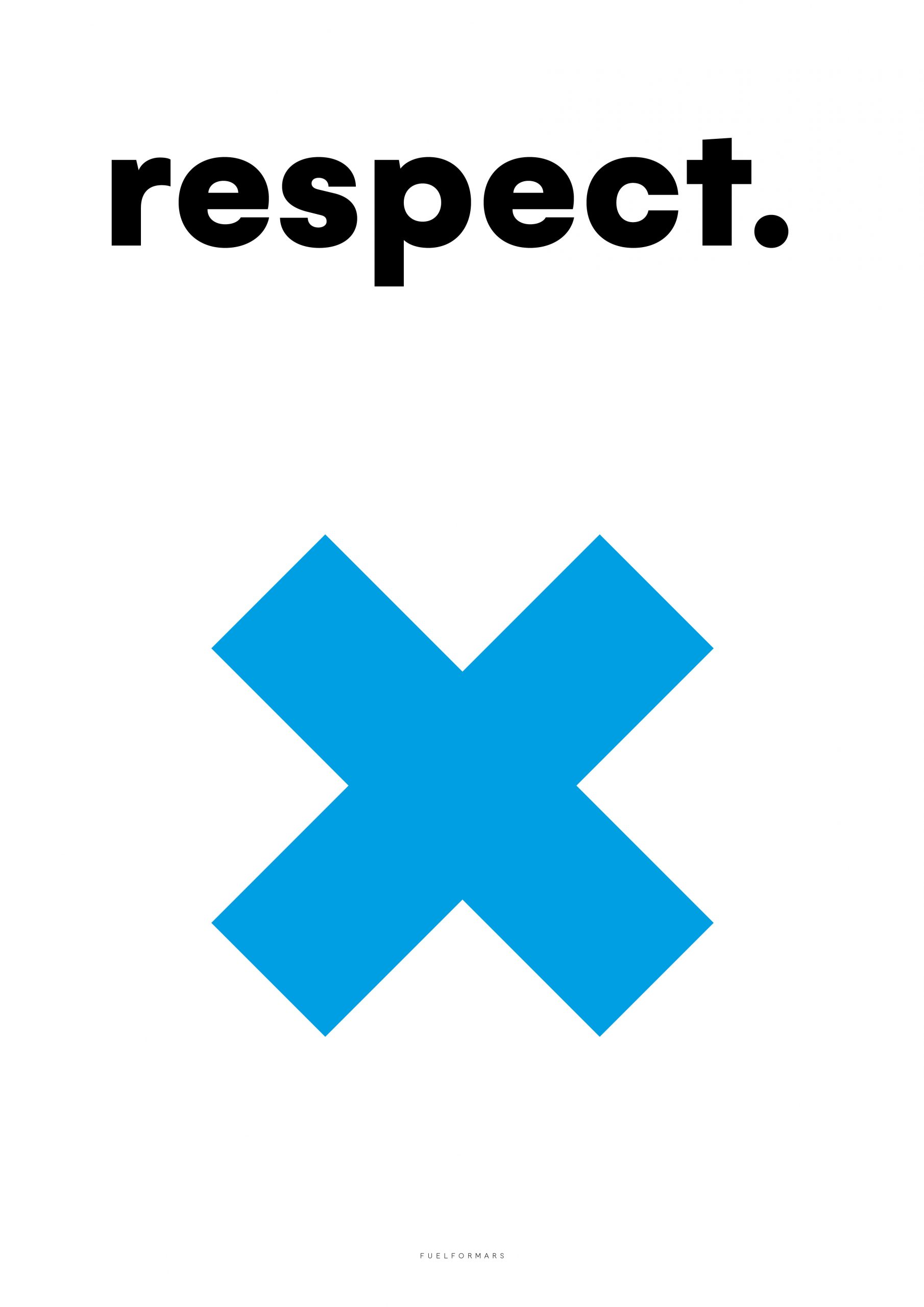 we see a blue cross with the word respect from fuel for mars