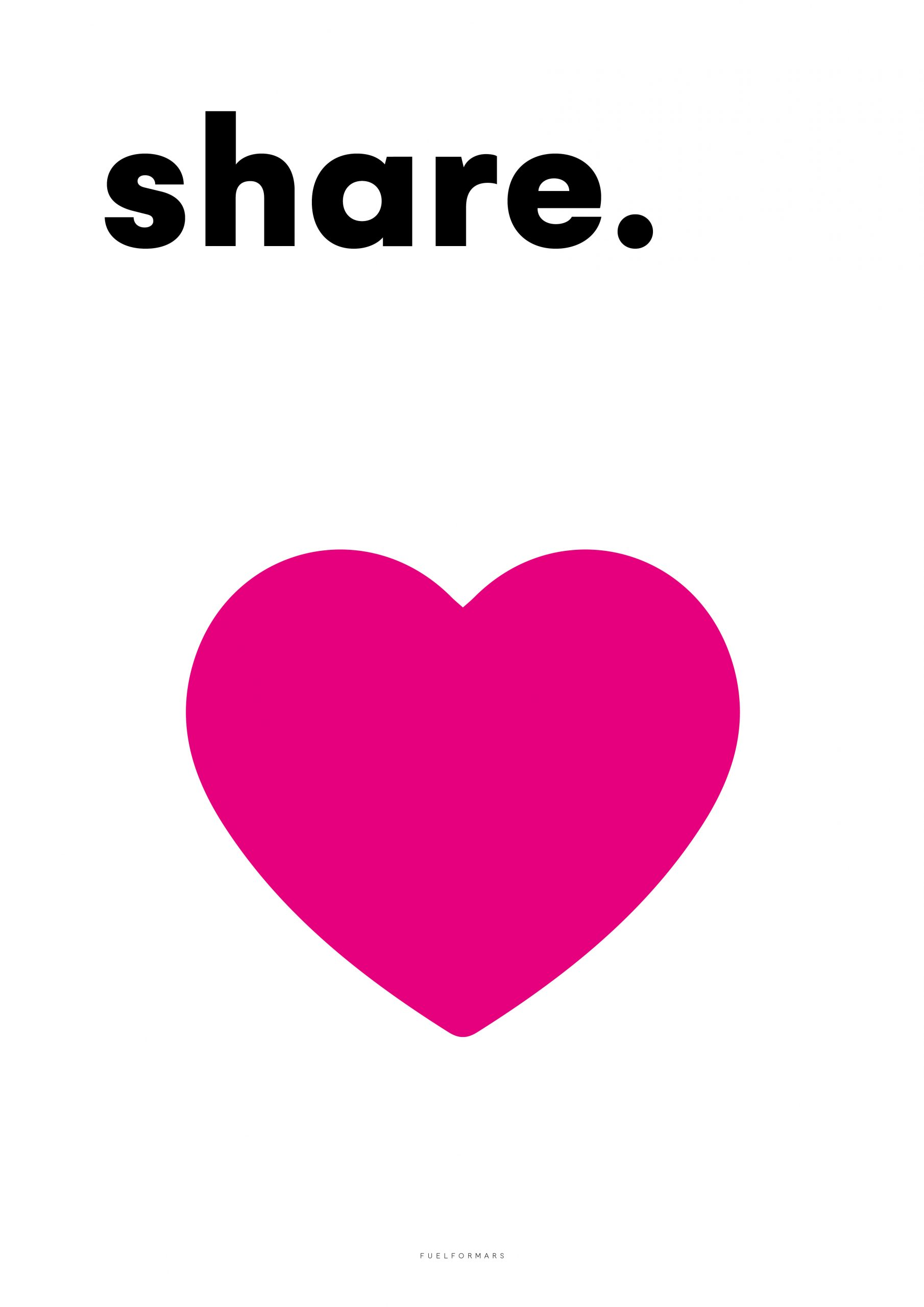 we see a pink heart with the word share from fuel for mars